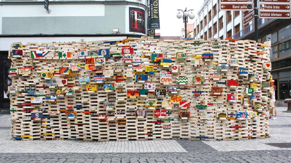 Prague brick wall