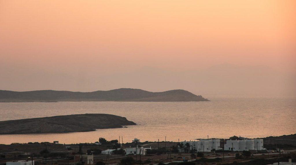 greek island holiday - sunset over the sea