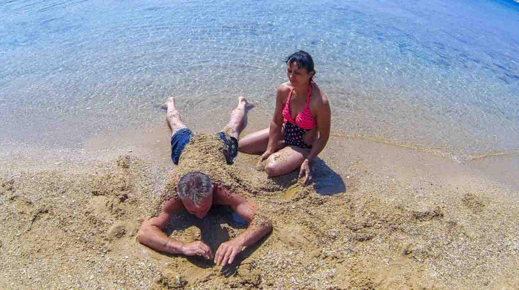 travel with parents - antiparos beach