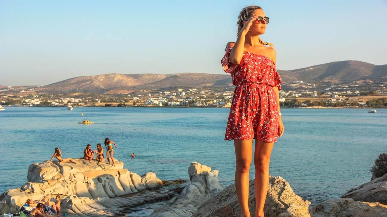 Paros Island - Sunset at Paros beach Kolymbithres