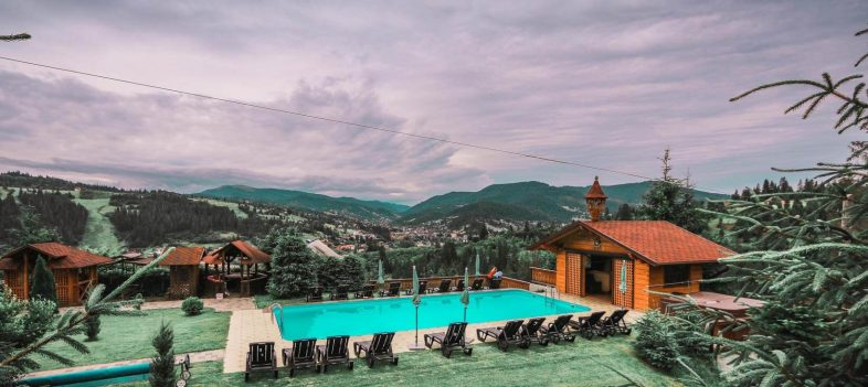 Kids' summer camp in Ukraine Carpathians, Alpenhof Hotel Pool_