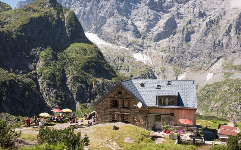 Hikes in Swiss Alps. Kröntenhütte SAC, exterior view.