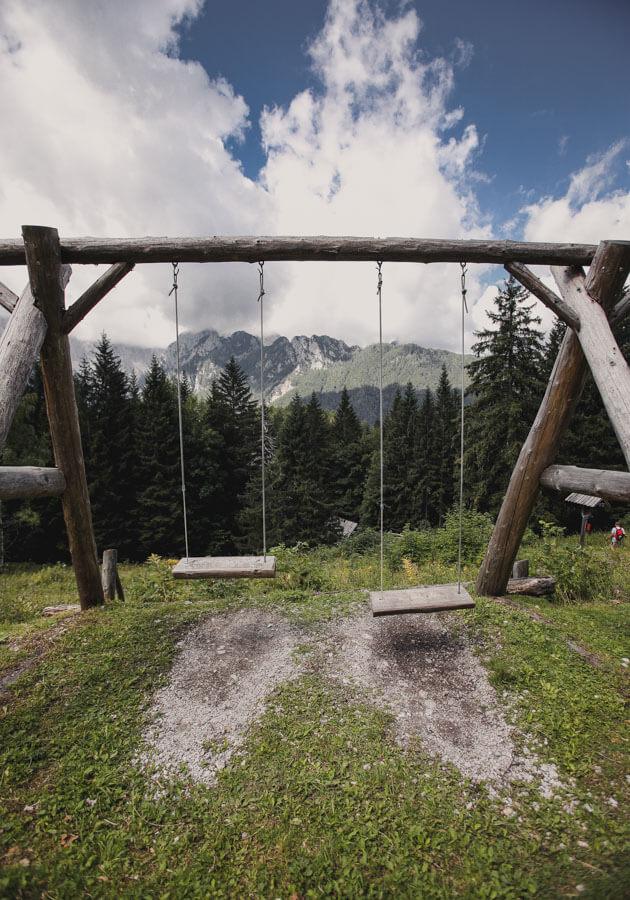 Slovenia Itinerary - Logar Valley Hike Koča na Jami swingset