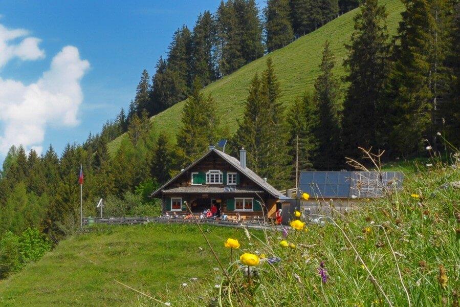 Hikes in Swiss Alps. The Gafadura hut, exterior view