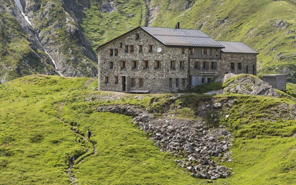 Hikes in Swiss Alps. Terrihütte SAC, exterior view